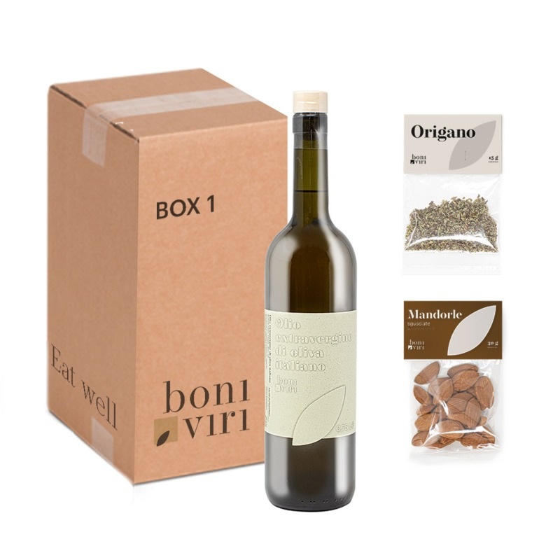 taste-box-boniviri-2020-organic-evo-oil-sicilian-almonds-and-oregano